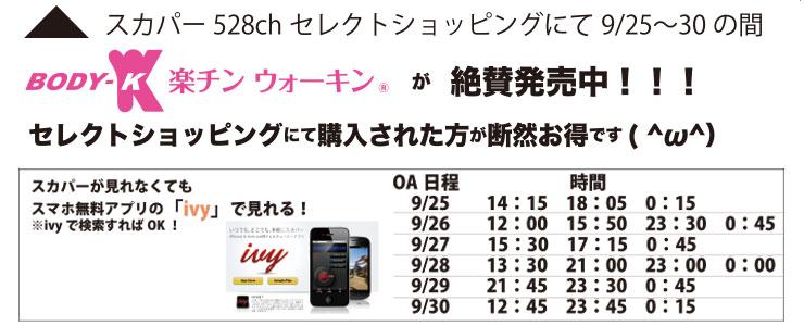 スカパー528chセレクトショッピングにて9/25~30まで絶賛発売中!Body-K 楽チンウォーキン